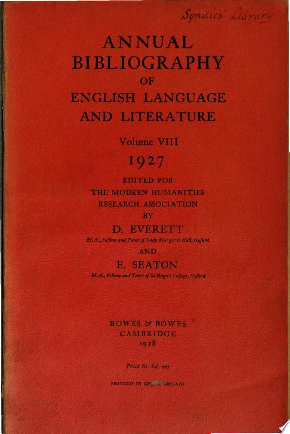 Annual Bibliography Of English Lang