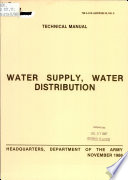 Water supply, water distribution