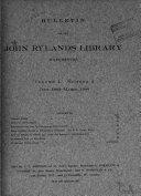 Bulletin of the John Rylands University Library of Manchester