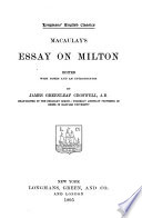 Macaulay's Essay on Milton, Essay on Milton