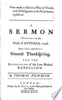 Vows made to God in a Time of Trouble  with the Obligation to the Performance  considered  A sermon