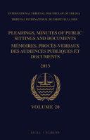 Pleadings  Minutes of Public Sittings and Documents   M  moires  proc  s verbaux des audiences publiques et documents