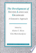 Read Online The Development of Second Language Grammars For Free