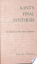 Kant S Final Synthesis