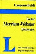 Langenscheidt s Pocket Merriam Webster English Dictionary