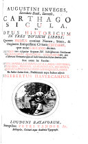 Augustini Inveges     Carthago Sicula     Ex Italicis Latina fecit  pr  fationem atque indices adjecit S  Havercampus   With plates