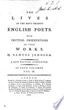 The Lives of the English Poets  and a criticism on their works