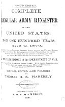 Complete Regular Army Register Of The United States For One Hundred Years 1779 To 1879