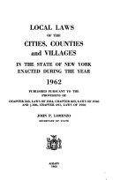 Local Laws of the Cities  Counties and Villages in the State of New York