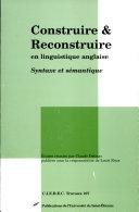 Construire et reconstruire en linguistique anglaise ebook