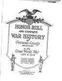 Honor Roll And Complete War History Of Genesee County Michigan In The Great World War 1914 To 1918