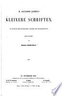 M. Alexander Castrén's Kleinere Schriften