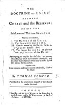 The Doctrine of Union Between Christ and the Believer  Being the Substance of Thirteen Sermons  Etc