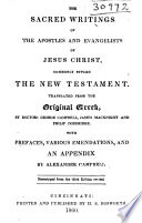 The Sacred Writings of the Apostles and Evangelists of Jesus Christ