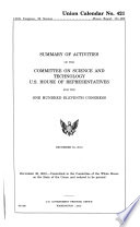 Summary of Activities of the Committee on Science and Technology  U S  House of Representatives for the     Congress