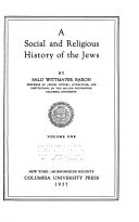 A Social and Religious History of the Jews Book
