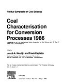 Coal Characterisation for Conversion Processes  1986 Book