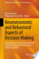 Neuroeconomic And Behavioral Aspects Of Decision Making Book PDF
