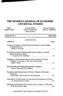 The Nigerian Journal Of Economics And Social Studies