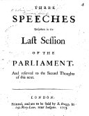 Three Speeches Unspoken in the Last Session of the Parliament