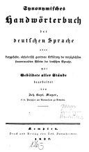 Synonymisches Handwörterbuch der deutschen Sprache