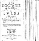 The Doctrine of the Bible  or  Rules of Discipline  Brieflie gathered through the whole course of the Scriptures by way of questions and answers