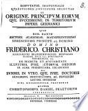 Disp. inaug. quaestiones continens selectas de origine principum, eorumque successione in territorium Imperii Germanici