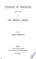 Catalogue of Periodicals Contained in the Bodleian Library  English periodicals