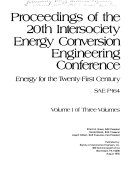 Proceedings Of The 20th Intersociety Energy Conversion Engineering Conference Book PDF