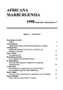 Selected essays on the occasion of the 30th anniversary of Africana Marburgensia