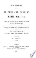 The History of the British and Foreign Bible Society