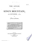 The Affair At King S Mountain 7th October 1780