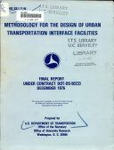 Methodology for the Design of Urban Transportation Interface Facilities Book