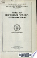 Markets for Fruit Juices and Fruit Sirups in Continental Europe