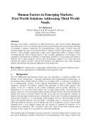 Human Factors in Emerging Markets  First World Solutions Addressing Third World Needs