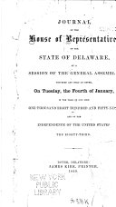 Journal of the House of Representatives of the State of Delaware  at a Session of the General Assembly