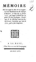 Mémoire où l'on expose les abus et les irrégularités du mandement de M. l'evêque d'Auxerre, en date du 23 février 1755, par lequel il défend sous les peines de droit d'enseigner, d'expliquer et de distribuer dans son diocèse d'autre catéchisme que celui de 1725, qu'il a fait réimprimer