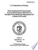 Programmatic EIS for Stockpile Stewardship and Management