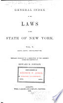 General Index of the Laws of the State of New York