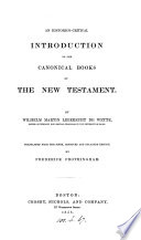 An Historico critical Introduction to the Canonical Books of the New Testament Book