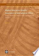 Higher Education Quality Assurance in Sub-Saharan Africa