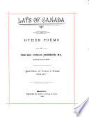 Lays of Canada  and Other Poems