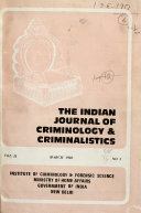 The Indian Journal of Criminology   Criminalistics Book