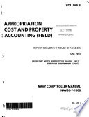 Navy Comptroller Manual  Appropriation cost and property accounting  field