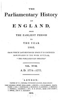 Pdf The Parliamentary History of England, from the Earliest Period to the Year 1803