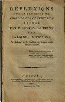 Réflexions sur la promesse de fidélité à la constitution exigée des ministres du culte par la loi du 21 nivose an 8. Par l'auteur de La question du serment traitée mathématiquement