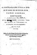 Il Petrarcha colla spositione di misser Giovanni Andrea Gesualdo