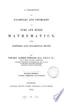 A Collection Of Examples In Pure And Mixed Mathematics With Hints And Answers By A Wrigley And W H Johnstone By A Wrigley