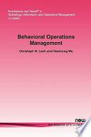 Behavioral Operations Management Book