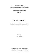 Proceedings of the 10th International Conference on Textures of Materials Book